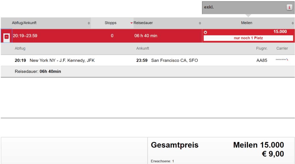 Air Berlin Topbonus Meilen einlösen: American Airlines JFK - SFO