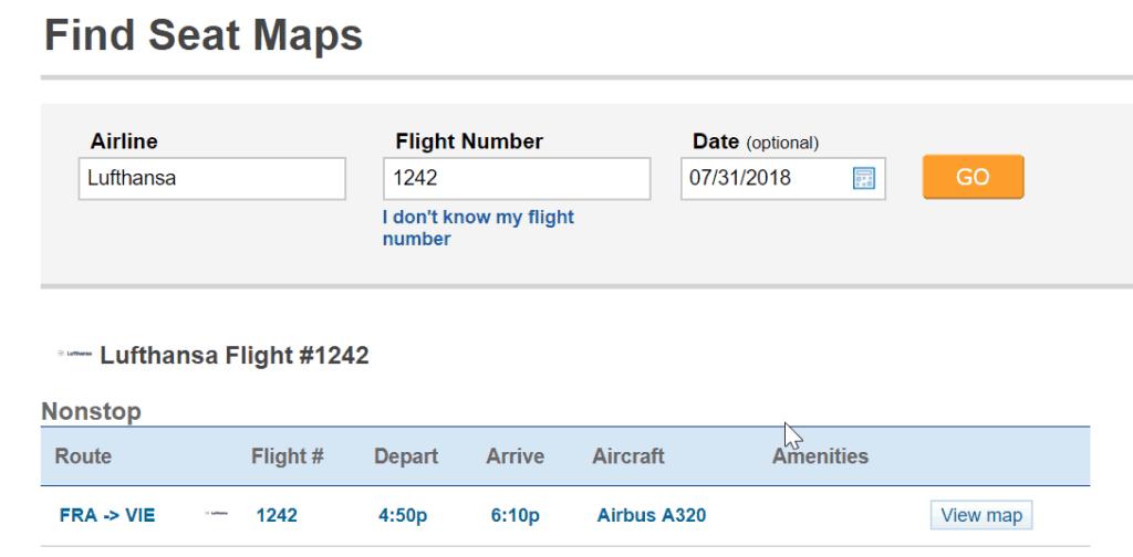 der beste Sitzplatz im Flugzeug: Seatguru Suche