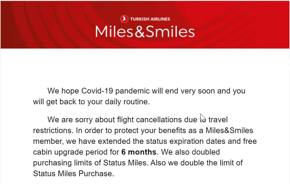 Auswirkungen von COVID-19 auf den Vielfliegerstatus bei Turkish Airlines Miles & Smiles
